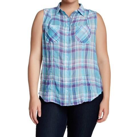 Sandra Ingrish NEW Blue Womens Size 14W Plus Plaid Button Down Shirt