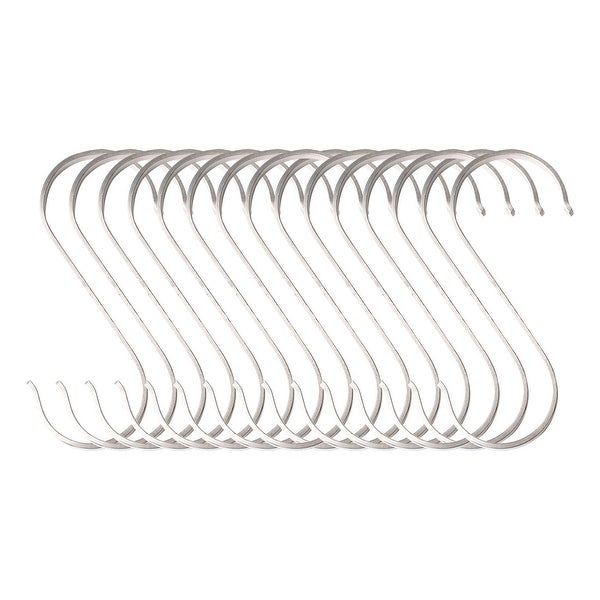 15pcs S Shaped Hanging Hooks Stainless Steel 78mm Cloth Coat Storage Hook Holder - 78x36mm