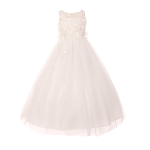 60af379fe Shop Girls Ivory 3D Flower Adorned Tulle Illusion Junior Bridesmaid Dress  16 - Free Shipping Today - Overstock.com - 19292398