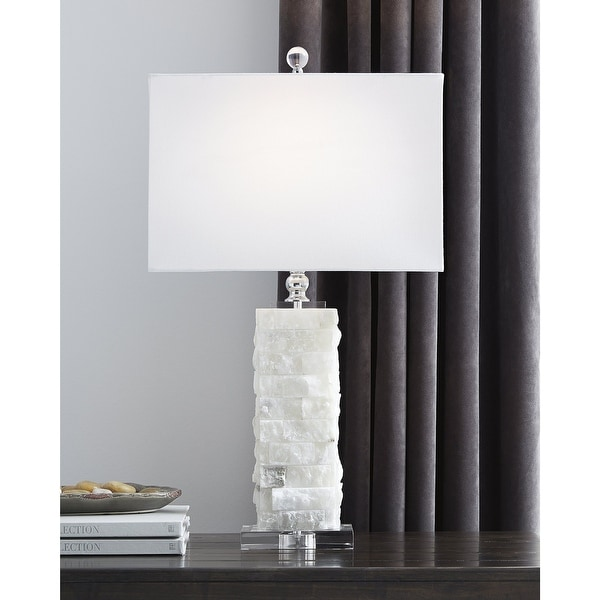 """Malise 27 Inch Alabaster Table Lamp - White - 15"""" W x 9"""" D x 27"""" H. Opens flyout."""