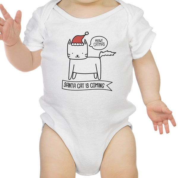Meowy Catmas Santa Cat Cute Graphic Baby Bodysuit White Cotton Top