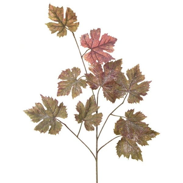 """Club Pack of 12 Green and Red Glittered Grape Leaf Christmas Spray 36"""""""
