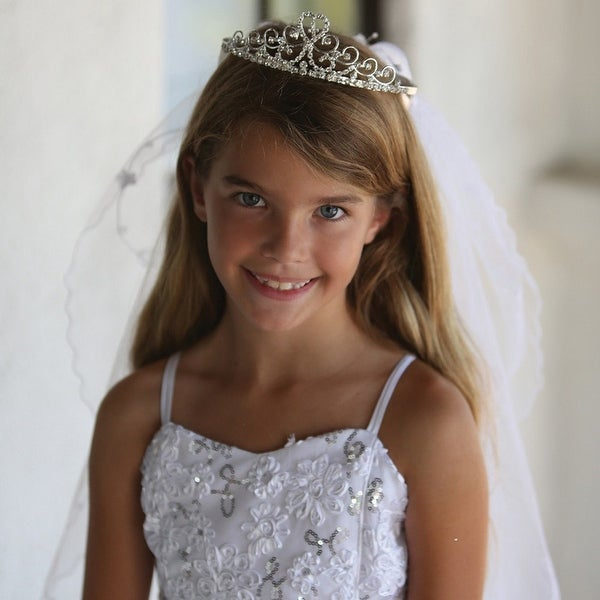 953d8ebebe59c Shop Angels Garment Girls White Rhinestone Tiara Cross Design First  Communion Veil - Free Shipping On Orders Over $45 - Overstock - 19839532