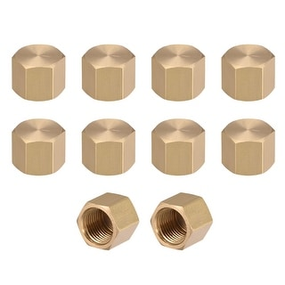 """Brass Cap, Hex Pipe Fitting 1/8""""G Female Pipe Connector 10pcs - 1/8"""" G 10pcs"""