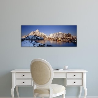 Easy Art Prints Panoramic Images's 'Mountains along a sea side, Reine, Lofoten, Nordland County, Norway' Canvas Art