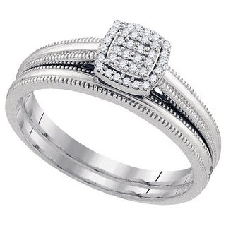 1/10Ctw Diamond Bridal Engagement Ring 10K White-Gold