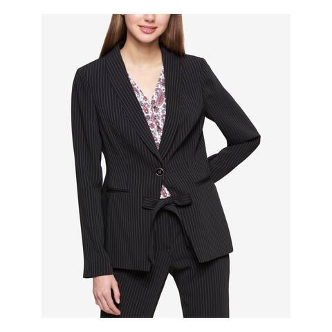 TOMMY HILFIGER Womens Black Pinstripe One Button Jacket Size 6