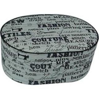 "9""X6.25""X3.625"" Black On Cream Print - Sewing Basket Oval"