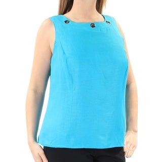 KASPER $59 Womens New 1099 Blue Eyelet Sleeveless Square Neck Top 14W Plus B+B
