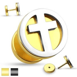 Cross Cut Out Two Tone Fake Plug 316L Surgical Steel (Sold Ind.)