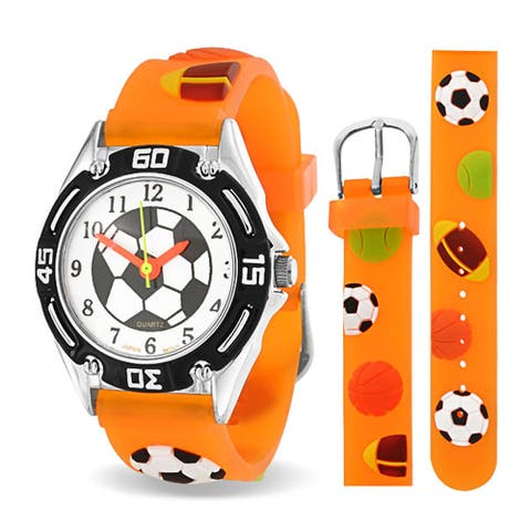 All Star Baseball Soccer Football Wrist Watch 3D Orange Wristband