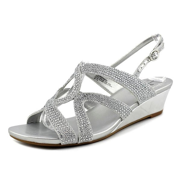 Bandolino Gomeisa Women Open Toe Canvas Silver Sandals