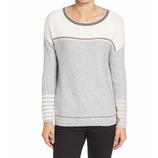 Caslon Gray Pink Women's Size XS Scoop Neck Striped Knit Sweater
