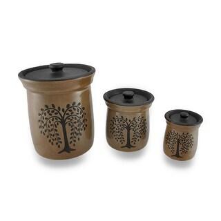 Crackled Finish Brown Olive Tree Porcelain Canisters Set of 3