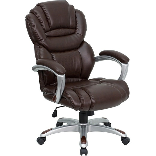 Alexandria Bay High Back Brown Leather Stylish Executive Swivel Chair w/Arms