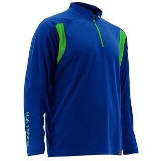 Huk Men's Trophy 1/4 Zip Royal Blue Medium Long Sleeve Shirt