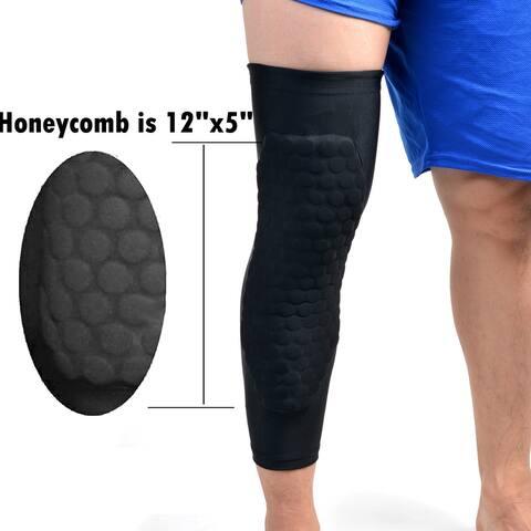 Image 1PCS Size M Basketball Knee Pad Long Leg Sleeves Honeycomb Crashproof Black