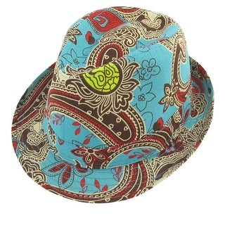 Unique Bargains Men Woman Summer Travel Beach Floral Print Green Red Fedora Trilby Hat Decor