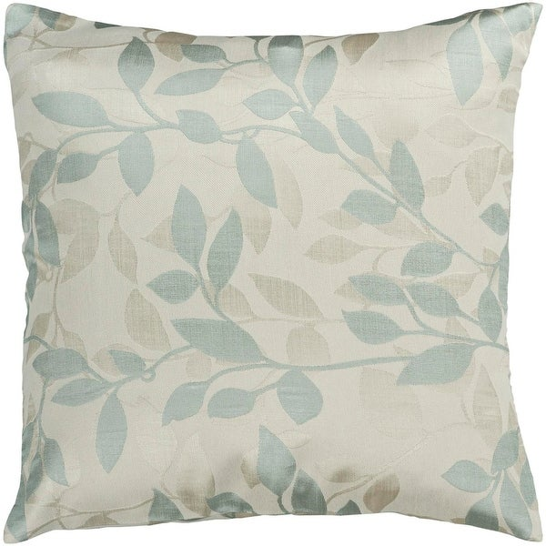 "22"" Blue Haze and Ivory Romantic Floral Decorative Throw Pillow - Down filler"