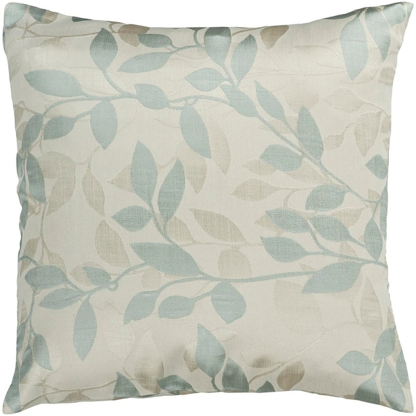 "22"" Blue Haze and Ivory Romantic Floral Decorative Throw Pillow"