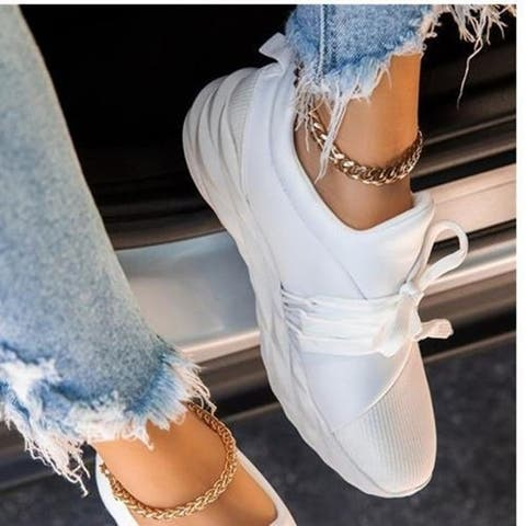 Plus Size Women's Casual Flat-Bottom Lace-Up Sneakers