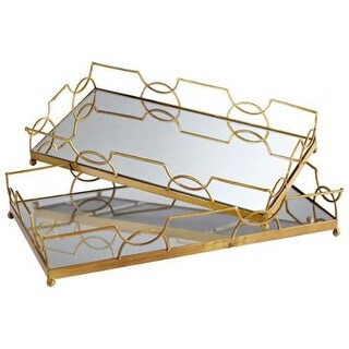 Cyan Design Nephrite Trays Nephrites 21.25 Inch Wide Iron Glass and Wood Tray