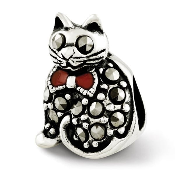 Sterling Silver Reflections Marcasite & Enameled Cat Bead (4mm Diameter Hole)
