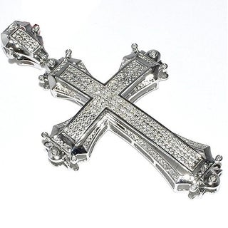 Cross with Diamonds for Men Sterling Silver 70MM Tall approx 3 Inch 0.30ctw Diamond By MidwestJewellery - White