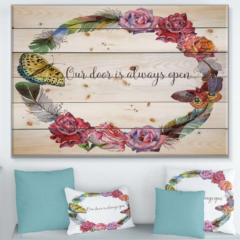 Designart 'Our door is always open. Butterfly Floral' Textual Entrance Art on Wood Wall Art - Multi-color