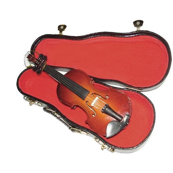 "5.5"" Seasons of Elegance Brown Wood Violin Musical Instrument Christmas Ornament"