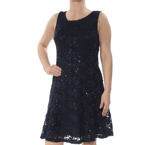 CONNECTED Womens Navy Sequin Lace Sleeveless Scoop Neck Knee Length Fit + Flare Party Dress Size: 12