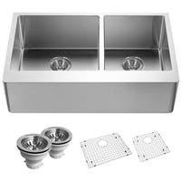 "Houzer END-3360SR Epicure 33"" Double Basin 18 Gauge Kitchen Sink for Farmhouse Installations with 60/40 Split - Basket Strainers"