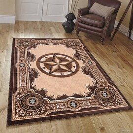 "High Quality Texas Star, Cowboy, Western, Woven Area Rug, Drop-Stitch Weave Technique with Carve Effect (5' 2"" x 7' 2"")"