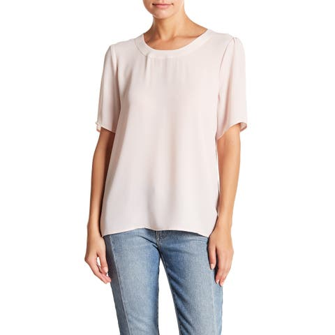 Halogen Women's Pullover Crewneck Solid V-Back Blouse