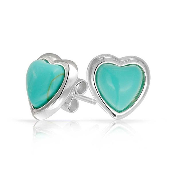 4d669fb7a Shop Bling Jewelry Imitation Turquoise December Birthstone Heart Stud  earrings 925 Sterling Silver 11mm - Blue - Free Shipping On Orders Over $45  ...