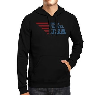 Seek & Travel USA Unisex Graphic Hoodie Black Round Neck Fleece Top
