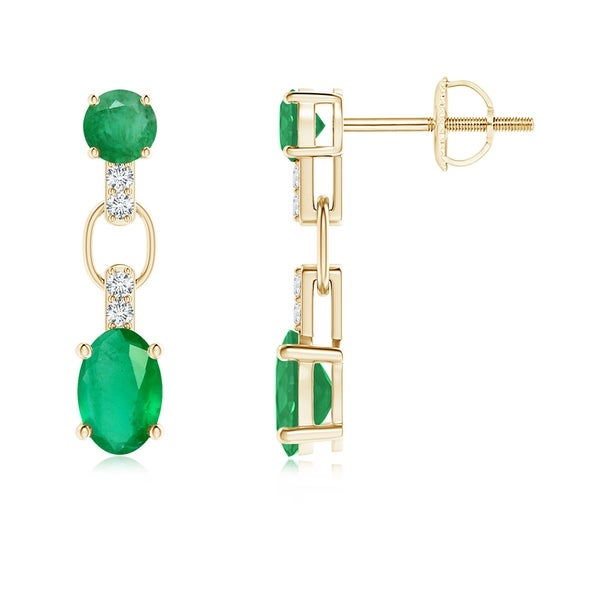 f5c06ca965154 Shop Angara 6x4mm Round and Oval Emerald Dangle Earrings with ...