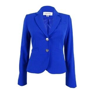 Calvin Klein Women's Petite Collared 2-Button Welt Pocket Blazer