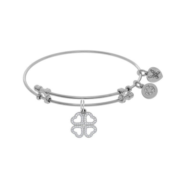 Angelica Collection Brass with White Heart Clover Charm with White CZ On White Bangle