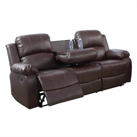 3 Seat Recliner Sofa With Build-In Drop Down Table,Brown(2890-S)