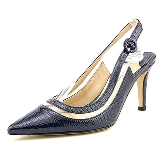 J. Renee Gwenda Women Pointed Toe Leather Blue Slingback Heel