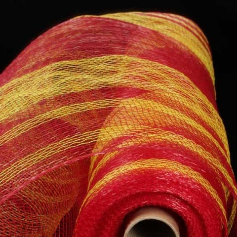 """Red and Yellow Striped Deco Mesh Craft Ribbon 21"""" x 40 Yards"""