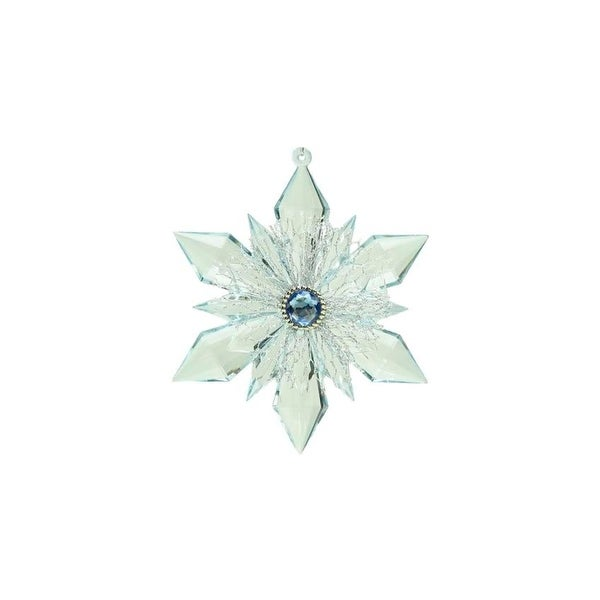 "5"" Winter Light Blue and Silver Gem Accented Snowflake Christmas Ornament"