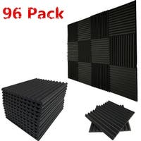 "96 Pack Acoustic Wedge Studio Foam Soundproofing Foam Wall Panels Tiles 1""X12X12 - charcoal"