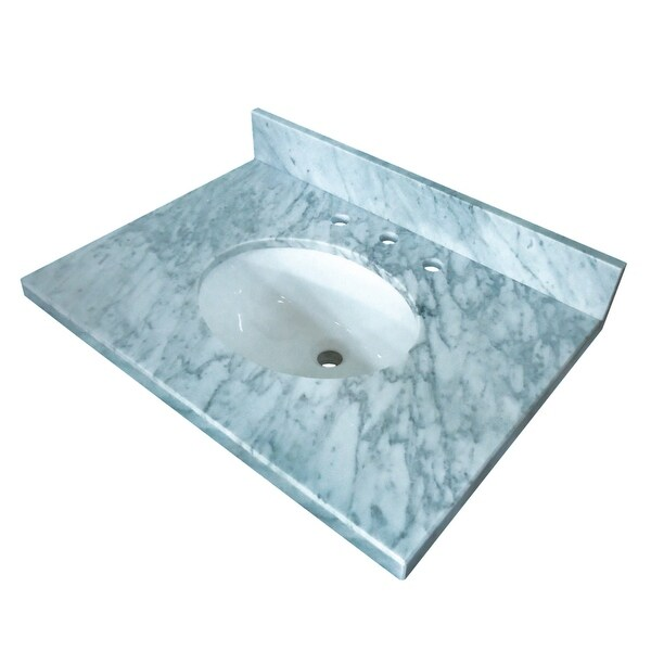 "Kingston Brass KVPB3022M38 Templeton 30"" Marble Vanity Top with Backsplash - Carrara Marble"