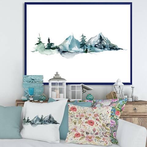 Designart 'Minimalistic Winter Mountains and Fir Forest III' Modern Framed Canvas Wall Art Print