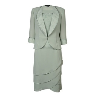 Le Bos Women's Embellished Trim Three Piece Skirt Suit