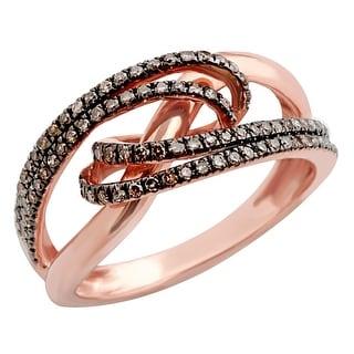 Beautiful 0.35 Carat Round Brilliant Cut Real Brown Diamond Stylist Eternity Ring