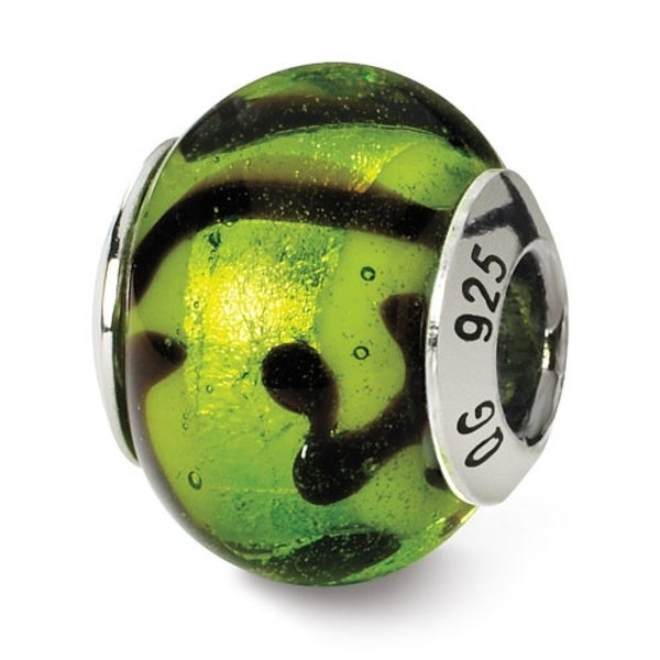Italian Sterling Silver Reflections Green/Black Bead (4mm Diameter Hole)