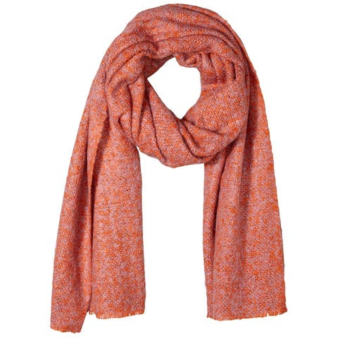 Vero Moda Women's Red Pink One Size Marled-Hem Fringed-Trim Scarf